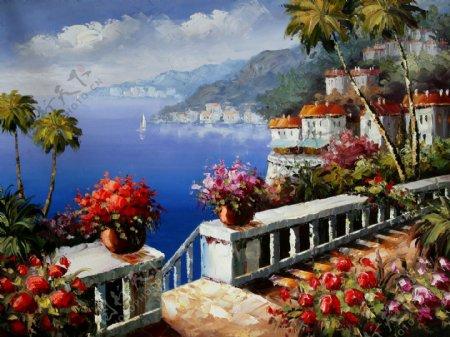 油画海边大海阳台鲜花花朵椰树蓝天白云