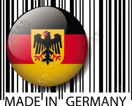 德国制造条码矢量插画