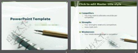 钢笔笔记本背景教育学习PPT模板