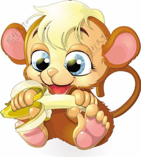 卡通猴子香蕉向量