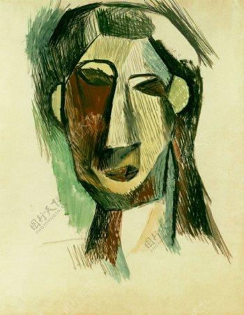 1909T鍧眅defemmeFernandeOlivier1西班牙画家巴勃罗毕加索抽象油画人物人体油画装饰画