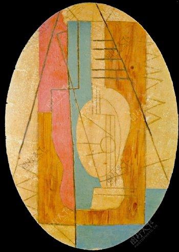 1912Guitareverteetrose西班牙画家巴勃罗毕加索抽象油画人物人体油画装饰画