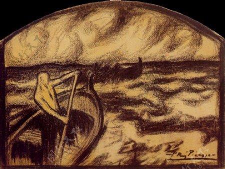 1900Etreounepas鍧眗e西班牙画家巴勃罗毕加索抽象油画人物人体油画装饰画