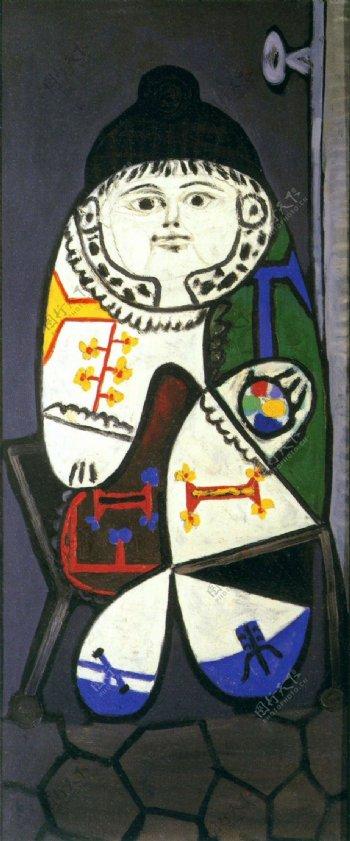 1948Claudeencostumepolonais西班牙画家巴勃罗毕加索抽象油画人物人体油画装饰画