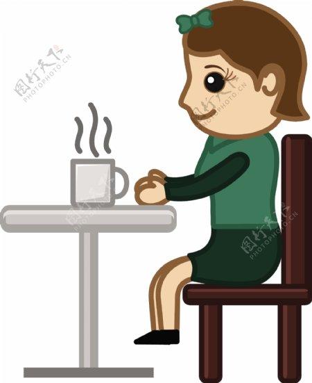 喝茶卡通商业矢量字符的女人