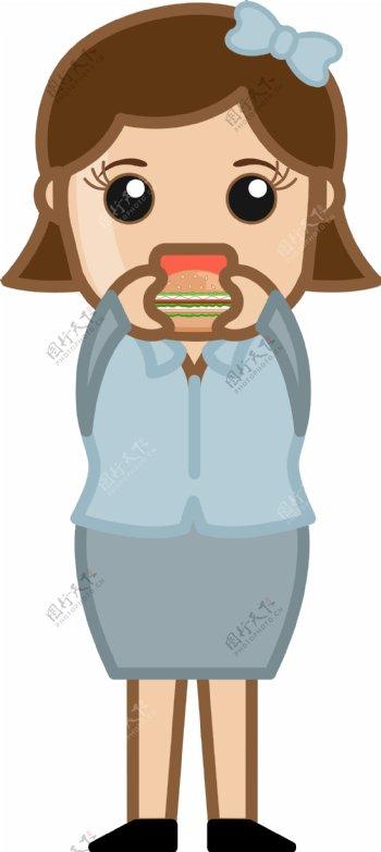 女人吃汉堡卡通商业矢量字符