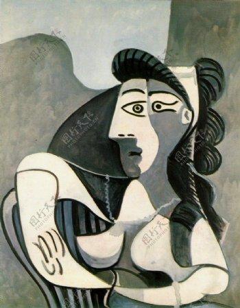 1962FemmedansunfauteuilBuste西班牙画家巴勃罗毕加索抽象油画人物人体油画装饰画