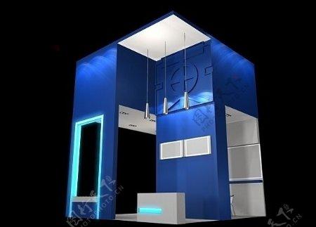 蓝色展会展示3D下载