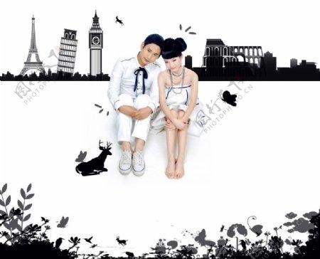 黑白卡通背景婚纱照图片