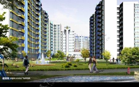 花园小区建筑结构模型图片