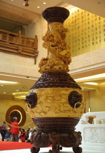 东阳木雕瓶图片