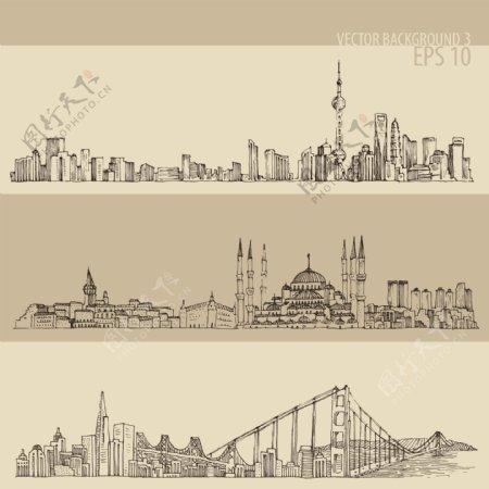 城市线稿图片