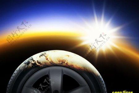 固特异轮胎海报招贴设计图片
