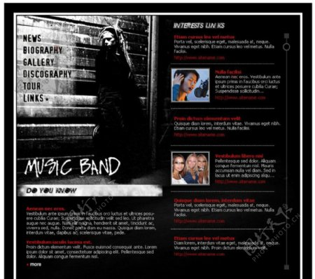 欧美黑色音乐酷秀流行时尚大气简单网页设计模板图片