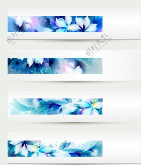 蓝色水墨梦幻花纹图片