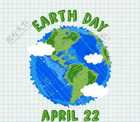彩绘蓝色地球矢量图