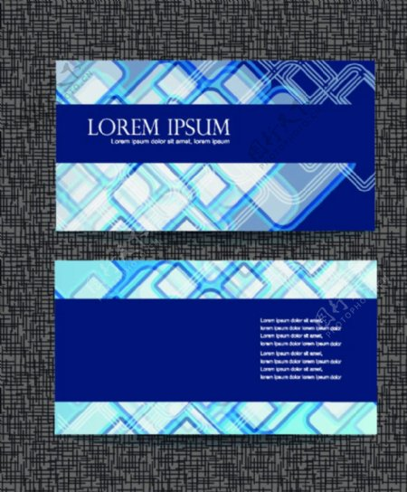 蓝色名片系列素材模板