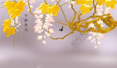 浪漫金黄色花卉素材