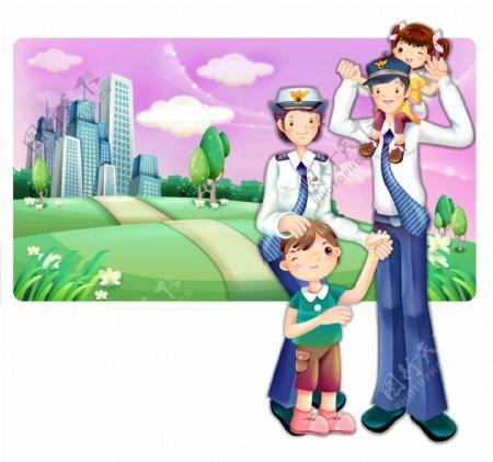 矢量卡通警察家庭