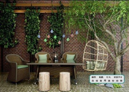 植物墙藤制餐桌椅秋千椅