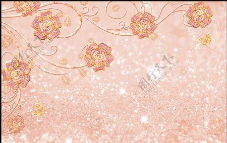 藤蔓珠宝花朵浪漫唯美电视背景墙