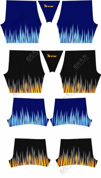3D渐变线条泳裤沙滩裤版型形设计稿数码印