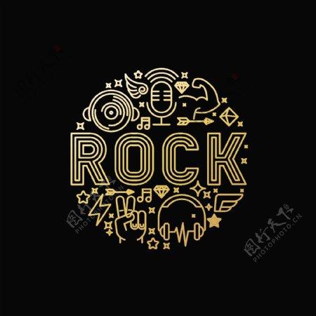 线稿ROCK字母音乐素材