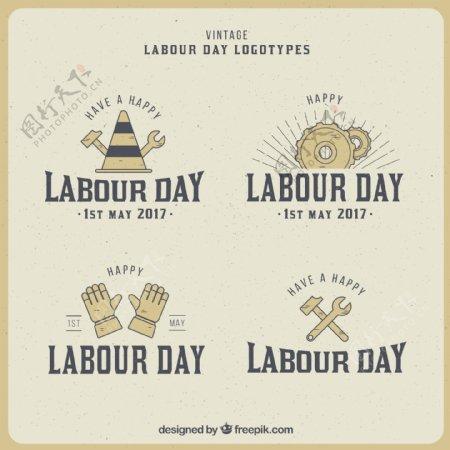 工人节的一些复古徽章