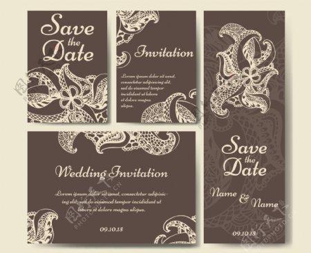 褐色火腿纹婚礼请贴模板下载