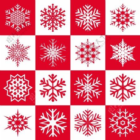 雪花在一个正方形图案