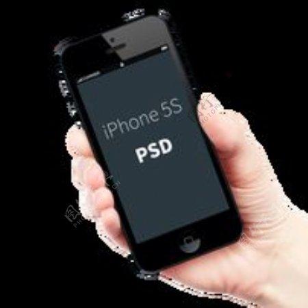 透明手持iPhone5S分层图片
