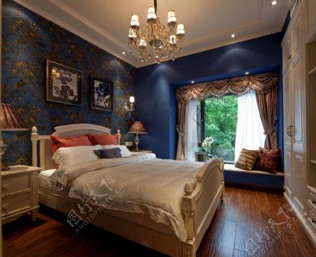 时尚卧室蓝色背景墙设计图