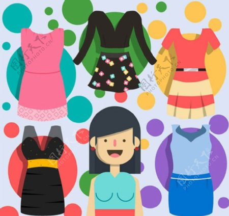 时尚女子服饰矢量素材
