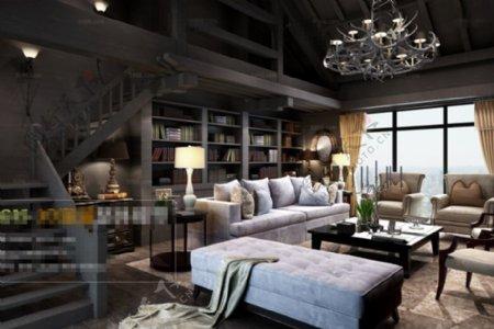 客厅空间华丽效果3D模型素材免费下载