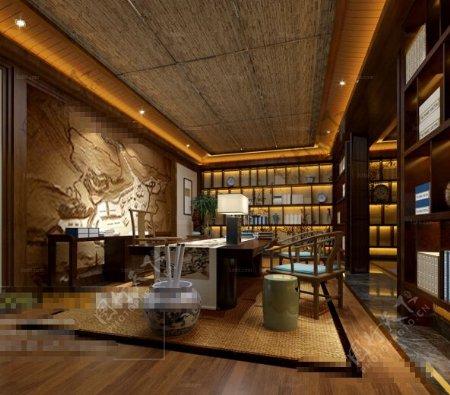 书房空间3D模型素材max