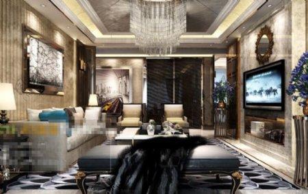 简欧客厅空间3D模型素材