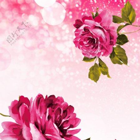 玫瑰花粉色梦幻背景素材