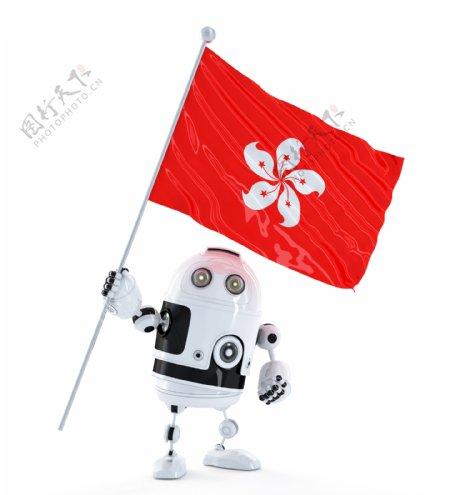 随着香港旗的Android机器人站