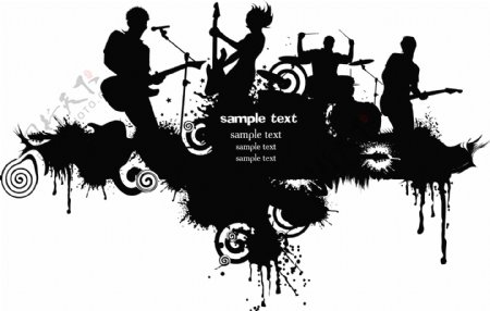 墨迹喷溅与摇滚乐队剪影