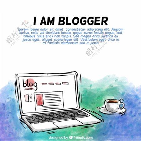手绘笔记本电脑博客背景