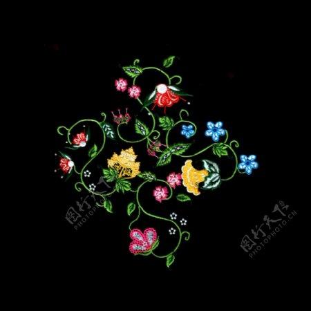 绣花植物花朵免费素材