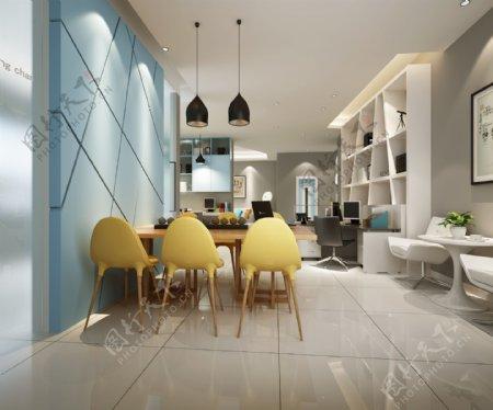 现代时尚清新蓝色背景墙办公室工装装修图