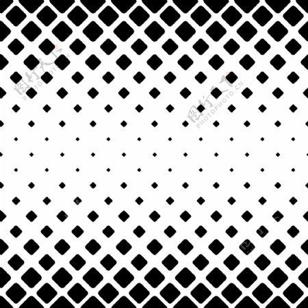 单色抽象正方形图案背景从对角线圆角正方形的黑白几何矢量设计