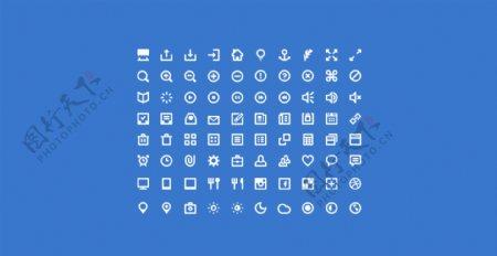 白色线性网页常用Icons