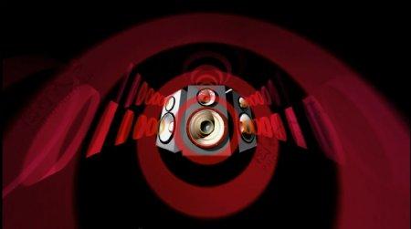 红色音响圆形震动音乐素材