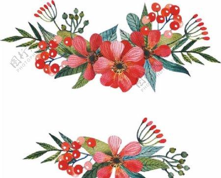 2款红色水彩手绘花卉矢量素材