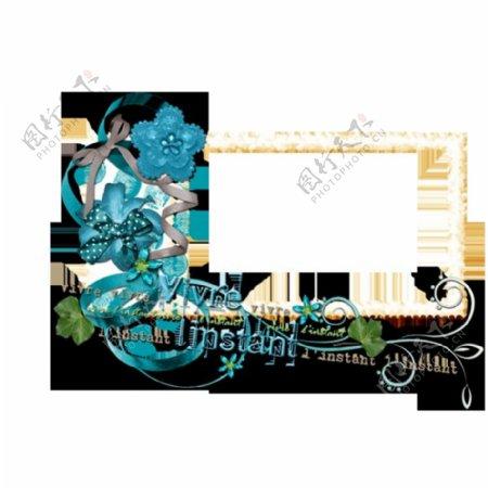 蓝玫瑰边框相框素材图片