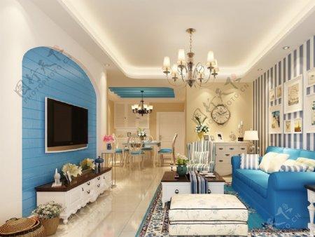 纯美地中海客厅条纹壁纸装修效果图