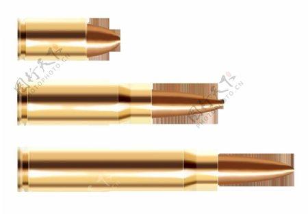 三种型号的子弹免抠png透明图层素材
