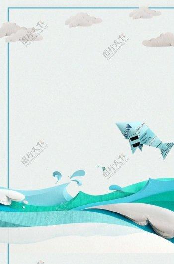 简约大海飞鱼背景